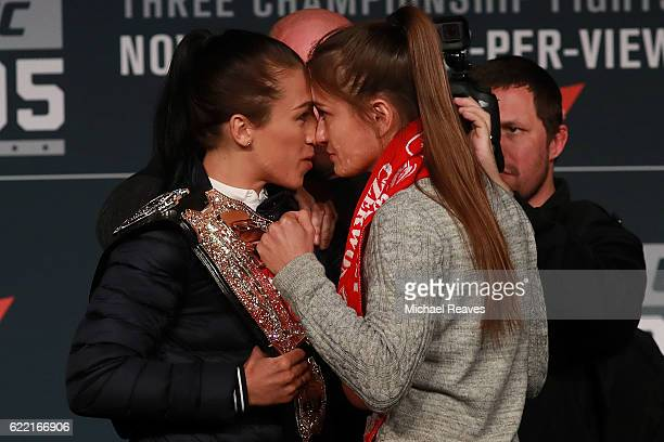 Joanna Jedrzejczyk and Karolina Kowalkiewicz face off during the UFC 205 press conference at The Theater at Madison Square Garden on November 10 2016...