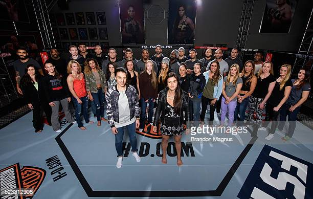 Joanna Jedrzejczyk Claudia Gadelha and 32 fighters pose for a portrait at the UFC TUF Gym on January 25 2016 in Las Vegas Nevada