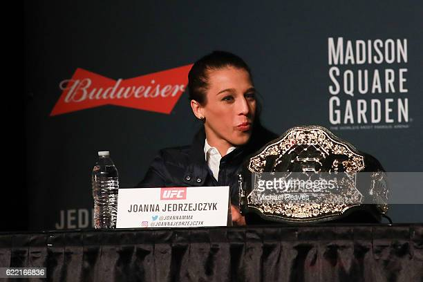 Joanna Jedrzejczyk looks on during the UFC 205 press conference at The Theater at Madison Square Garden on November 10 2016 in New York City