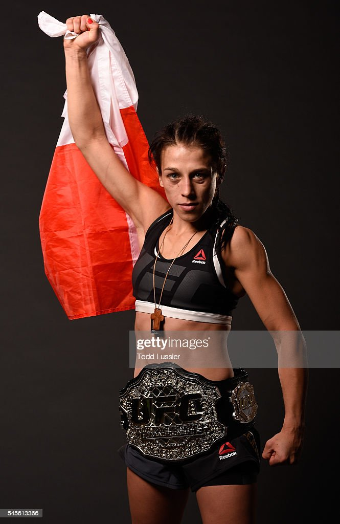 Joanna Jedrzejczyk of Poland poses for a portrait after her victory over Claudia Gadelha during The Ultimate Fighter Finale event at MGM Grand Garden...