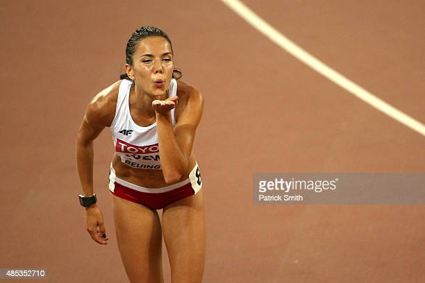 Joanna Jozwik of Poland celebrates after competing in the Women's 800 metres semifinal during day six of the 15th IAAF World Athletics Championships...