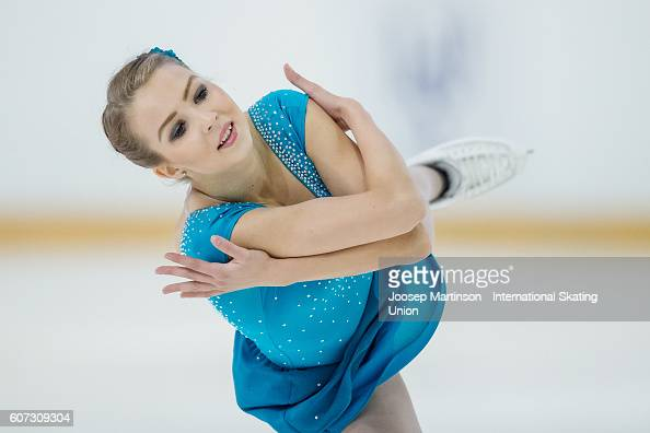 Joanna Kallela of Finland competes during the Junior Ladies Free Skating on day three of the ISU Junior Grand Prix of Figure Skating on September 17...