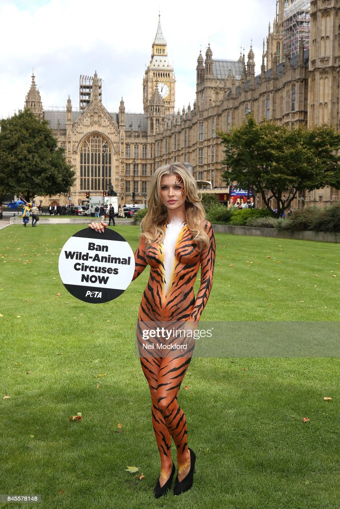 Joanna Krupa and PETA call for a ban on Animal Circuses outside The Houses of Parliament on September 11, 2017 in London, England.