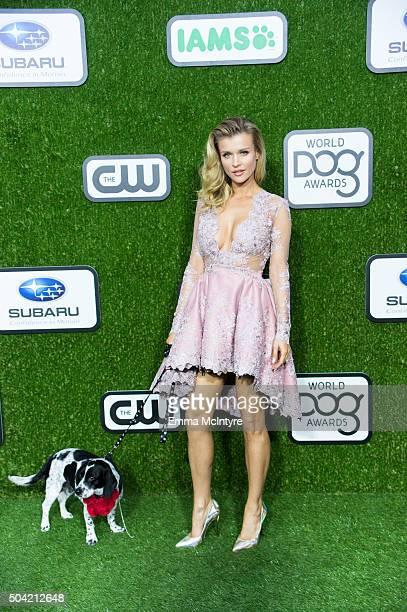 Joanna Krupa arrives at the 2016 World Dog Awards at Barker Hangar on January 9 2016 in Santa Monica California