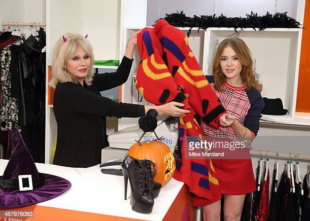 Joanna Lumley and Angela Scanlon attend a photocall to open Marks and Spencer Little Shwop of Horrors at Marks Spencer Marble Arch on October 28 2014...