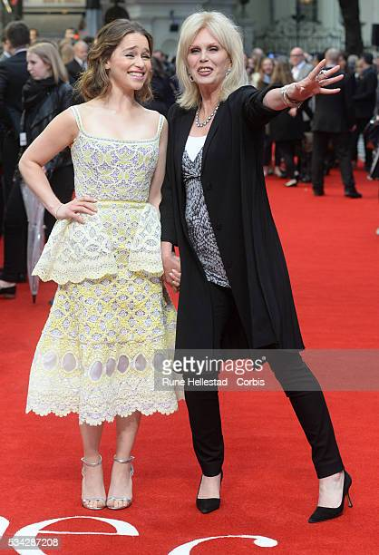 Joanna Lumley and Emilia Clarke arrive for European Premiere of 'Me Before You' at The Curzon Mayfair on May 25 2016 in London England