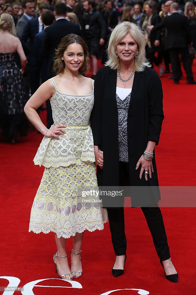 <a gi-track='captionPersonalityLinkClicked' href=/galleries/search?phrase=Joanna+Lumley&family=editorial&specificpeople=206307 ng-click='$event.stopPropagation()'>Joanna Lumley</a> and <a gi-track='captionPersonalityLinkClicked' href=/galleries/search?phrase=Emilia+Clarke&family=editorial&specificpeople=7426687 ng-click='$event.stopPropagation()'>Emilia Clarke</a> attend the European film premiere 'Me Before You' at The Curzon Mayfair on May 25, 2016 in London, England.