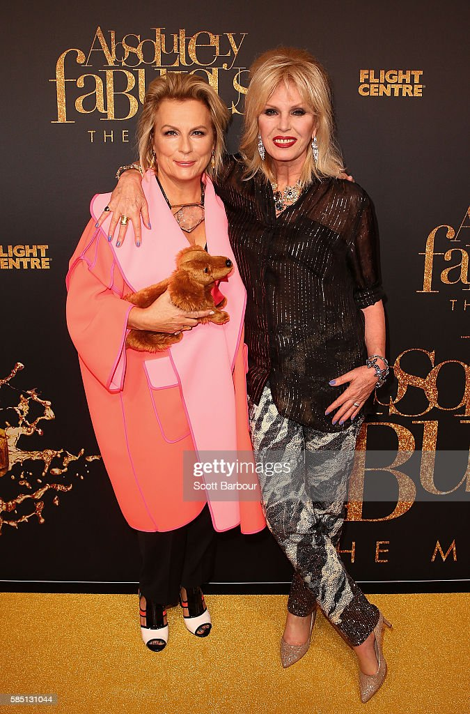 Joanna Lumley and Jennifer Saunders arrive ahead of the Absolutely Fabulous The Movie Melbourne premiere at Village Cinemas Crown on August 2 2016 in...