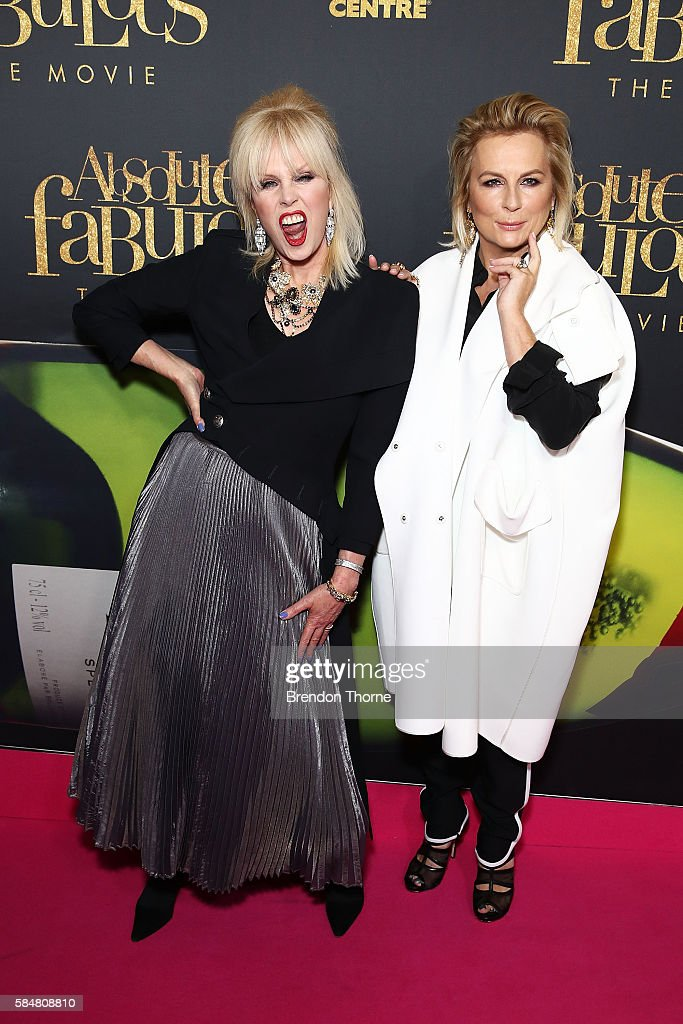 Joanna Lumley and Jennifer Saunders arrives ahead of the Absolutely Fabulous The Movie Australian premiere at State Theatre on July 31 2016 in Sydney...