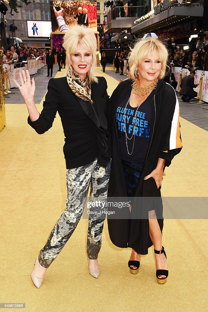 <a gi-track='captionPersonalityLinkClicked' href=/galleries/search?phrase=Joanna+Lumley&family=editorial&specificpeople=206307 ng-click='$event.stopPropagation()'>Joanna Lumley</a> (R) and <a gi-track='captionPersonalityLinkClicked' href=/galleries/search?phrase=Jennifer+Saunders&family=editorial&specificpeople=210714 ng-click='$event.stopPropagation()'>Jennifer Saunders</a> attends the World Premiere of 'Absolutely Fabulous: The Movie' at Odeon Leicester Square on June 29, 2016 in London, England.