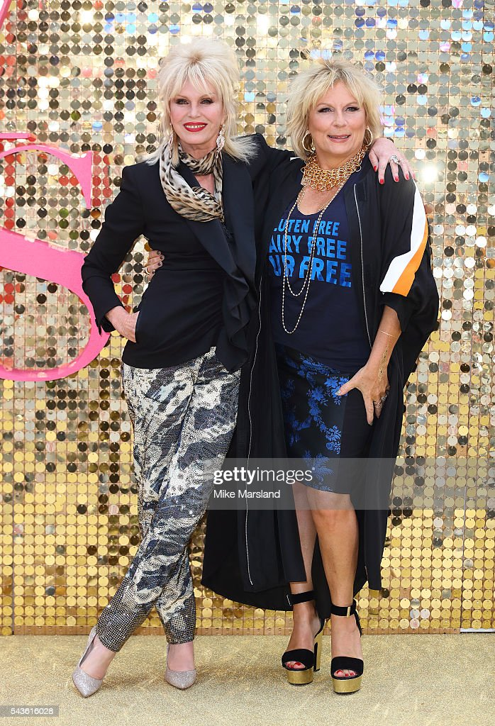 Joanna Lumley (L) and Jennifer Saunders, in character as Patsy Stone and Edina Monsoon, attend the World Premiere of 'Absolutely Fabulous: The Movie' at Odeon Leicester Square on June 29, 2016 in London, England.