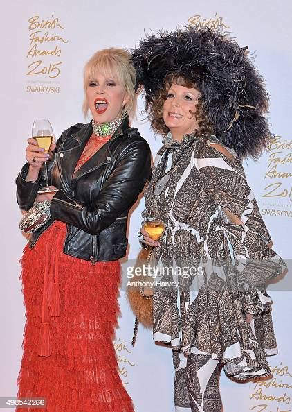 Joanna Lumley and Jennifer Saunders pose in the Winners Room at the British Fashion Awards 2015 at London Coliseum on November 23 2015 in London...