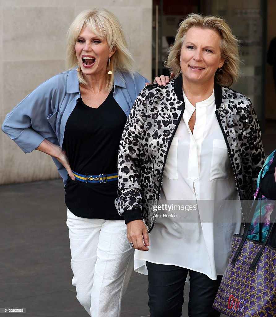 <a gi-track='captionPersonalityLinkClicked' href=/galleries/search?phrase=Joanna+Lumley&family=editorial&specificpeople=206307 ng-click='$event.stopPropagation()'>Joanna Lumley</a> and <a gi-track='captionPersonalityLinkClicked' href=/galleries/search?phrase=Jennifer+Saunders&family=editorial&specificpeople=210714 ng-click='$event.stopPropagation()'>Jennifer Saunders</a> seen leaving the BBC Radio 1 Studios on June 28, 2016 in London, England.