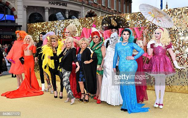 Joanna Lumley and Jennifer Saunders with drag queens attend the 'Absolutely Fabulous The Movie' World Premiere at the Odeon Leicester Square on June...