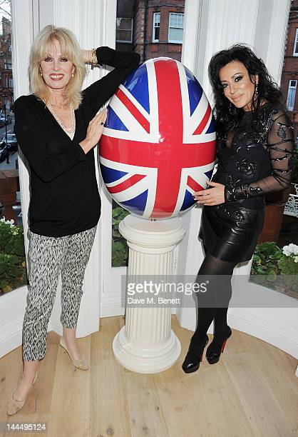 Joanna Lumley and Nancy Dell'Olio attend a private drinks reception hosted by Basia Briggs celebrating her Mark Shand designed Union Jack Egg on May...
