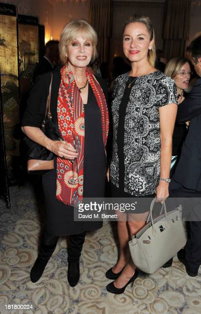 Joanna Lumley and Tamzin Outhwaite attend the launch of 'Solo' the new James Bond novel written by William Boyd at The Dorchester on September 25...