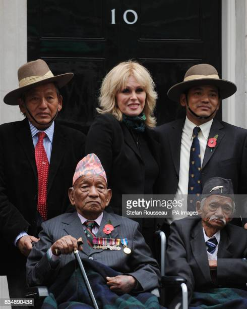 Joanna Lumley delivers a petition to Downing St in London on behalf of the Gurkha Justice Campaign which is asking the government to give British...