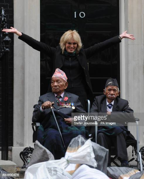 Joanna Lumley delivers a petition to Downing St in London today on behalf of the Gurkha Justice Campaign which is asking the government to give...