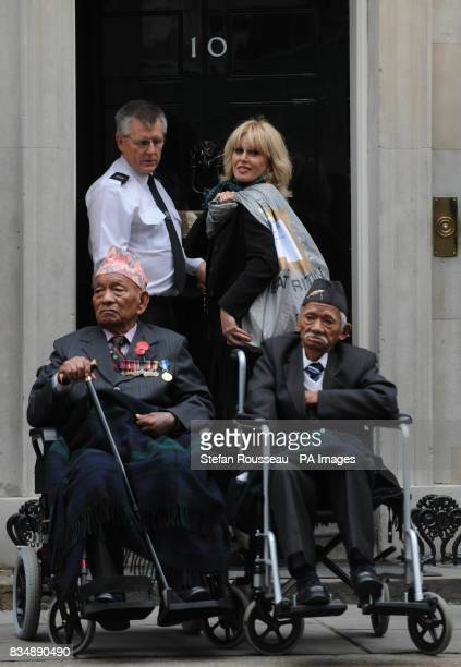 Joanna Lumley delivers a petition to Downing Street in London on behalf of the Gurkha Justice Campaign which is asking the government to give British...
