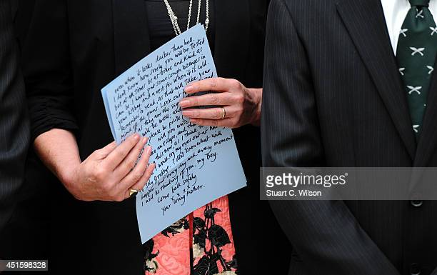 Joanna Lumley displays her letter 'To An Unknown Soldier' a new kind of memorial made only of works inspired by Charles Seargent Jagger's statue of a...