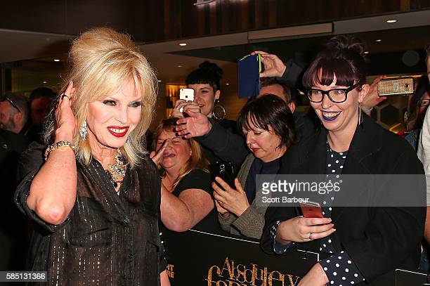 Joanna Lumley greets fans in the crwod as she arrives ahead of the Absolutely Fabulous The Movie Melbourne premiere at Village Cinemas Crown on...
