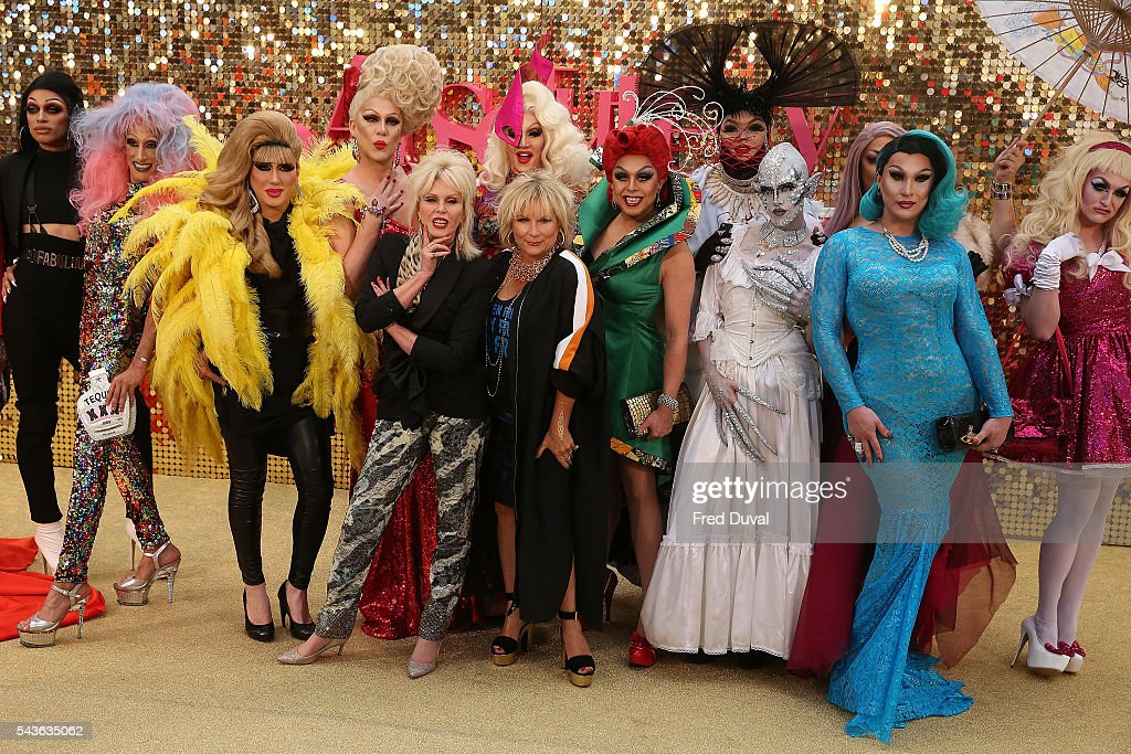 <a gi-track='captionPersonalityLinkClicked' href=/galleries/search?phrase=Joanna+Lumley&family=editorial&specificpeople=206307 ng-click='$event.stopPropagation()'>Joanna Lumley</a>, in character as Patsy Stone and <a gi-track='captionPersonalityLinkClicked' href=/galleries/search?phrase=Jennifer+Saunders&family=editorial&specificpeople=210714 ng-click='$event.stopPropagation()'>Jennifer Saunders</a>, in character as Edina Monsoon attend the World premiere of 'Absolutely Fabulous' at Odeon Leicester Square on June 29, 2016 in London, England.