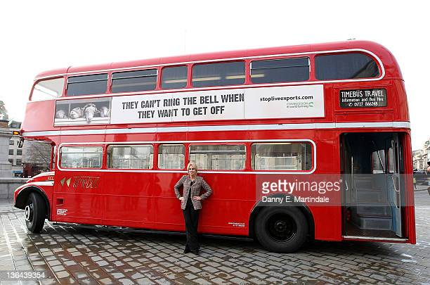 Joanna Lumley poses for photos with a Routemaster bus parked on Trafalgar Square to unveil Compassion In World Farming's nationwide bus adverts on...