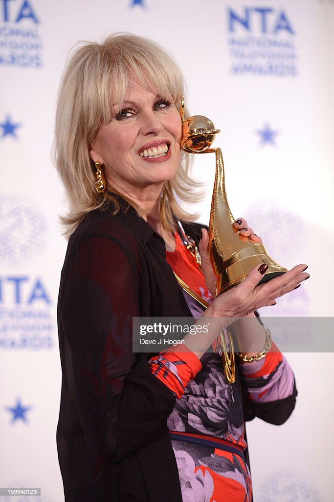 <a gi-track='captionPersonalityLinkClicked' href=/galleries/search?phrase=Joanna+Lumley&family=editorial&specificpeople=206307 ng-click='$event.stopPropagation()'>Joanna Lumley</a> poses with her Special Recognition Award in front of the winners boards at the National Television Awards 2013 at The O2 Arena on January 23, 2013 in London, England.