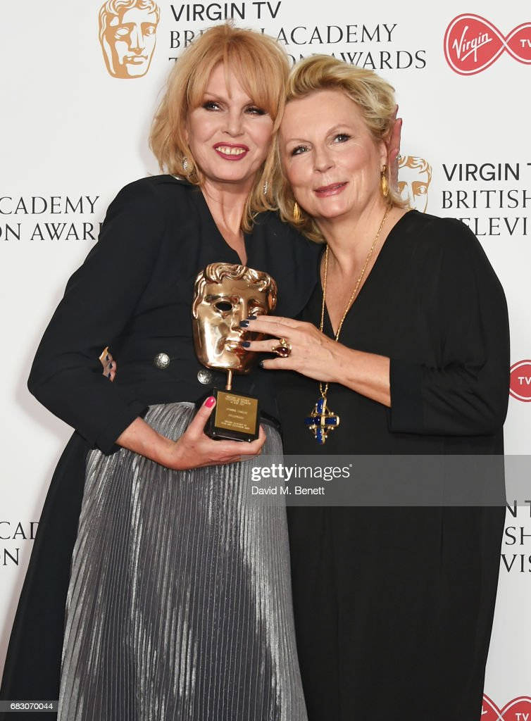 Joanna Lumley, winner of the Fellowship Award, and Jennifer Saunders pose in the Winner's room at the Virgin TV BAFTA Television Awards at The Royal Festival Hall on May 14, 2017 in London, England.