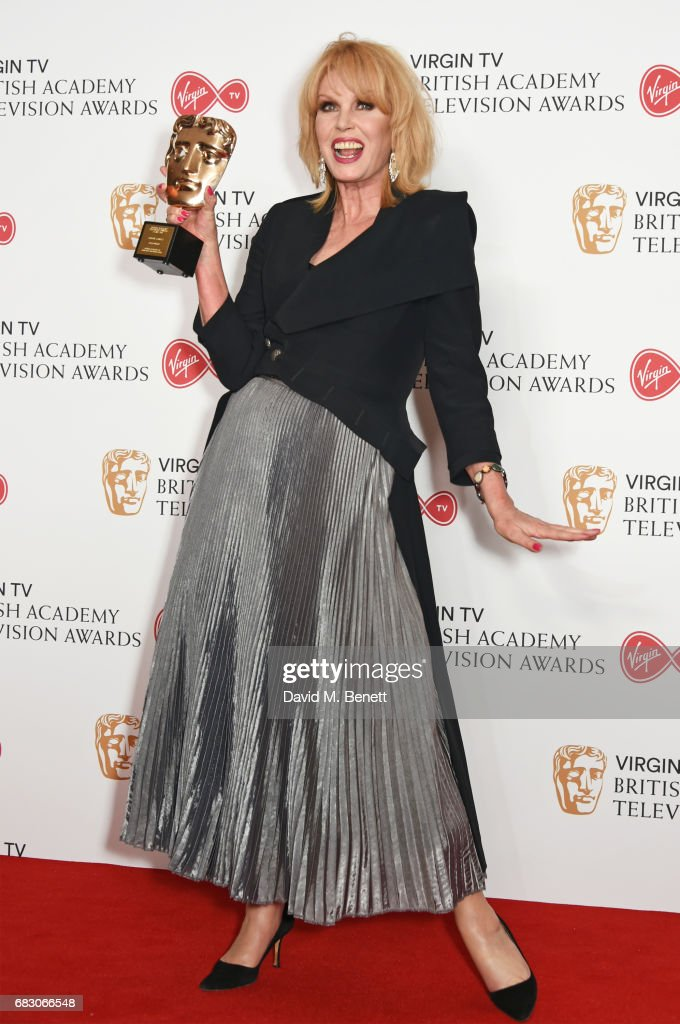 Joanna Lumley, winner of the Fellowship Award, poses in the Winner's room at the Virgin TV BAFTA Television Awards at The Royal Festival Hall on May 14, 2017 in London, England.