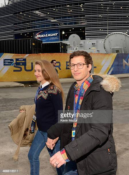 Joanna Newsom and actor Andy Samberg attend the Pepsi Super Bowl XLVIII Pregame Show at MetLife Stadium on February 2 2014 in East Rutherford New...
