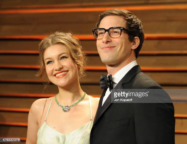 Joanna Newsom and Andy Samberg attend the 2014 Vanity Fair Oscar Party hosted by Graydon Carter on March 2 2014 in West Hollywood California