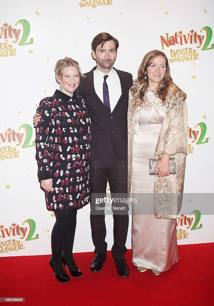 Joanna Page, <a gi-track='captionPersonalityLinkClicked' href=/galleries/search?phrase=David+Tennant&family=editorial&specificpeople=220227 ng-click='$event.stopPropagation()'>David Tennant</a> and Jessica Hynes attend the 'Nativity 2: Danger In The Manger' premiere at Empire Leicester Square on November 13, 2012 in London, England.