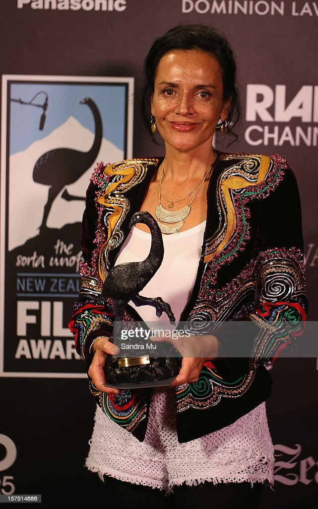 Joanna Paul, Executive Producer of Maori Boy Genius poses with the award for Best Documentary during the MOA 'Unofficial' New Zealand Film Awards at The Civic on December 4, 2012 in Auckland, New Zealand.