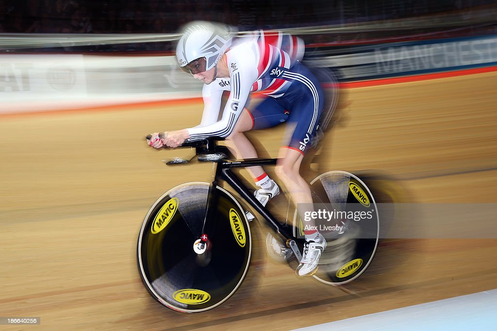 Joanna Rowsell of Great Britain on her way to winning gold in the Women's Individual Pursuit on day two of the UCI Track Cycling World Cup at Manchester Velodrome on November 2, 2013 in Manchester, England.