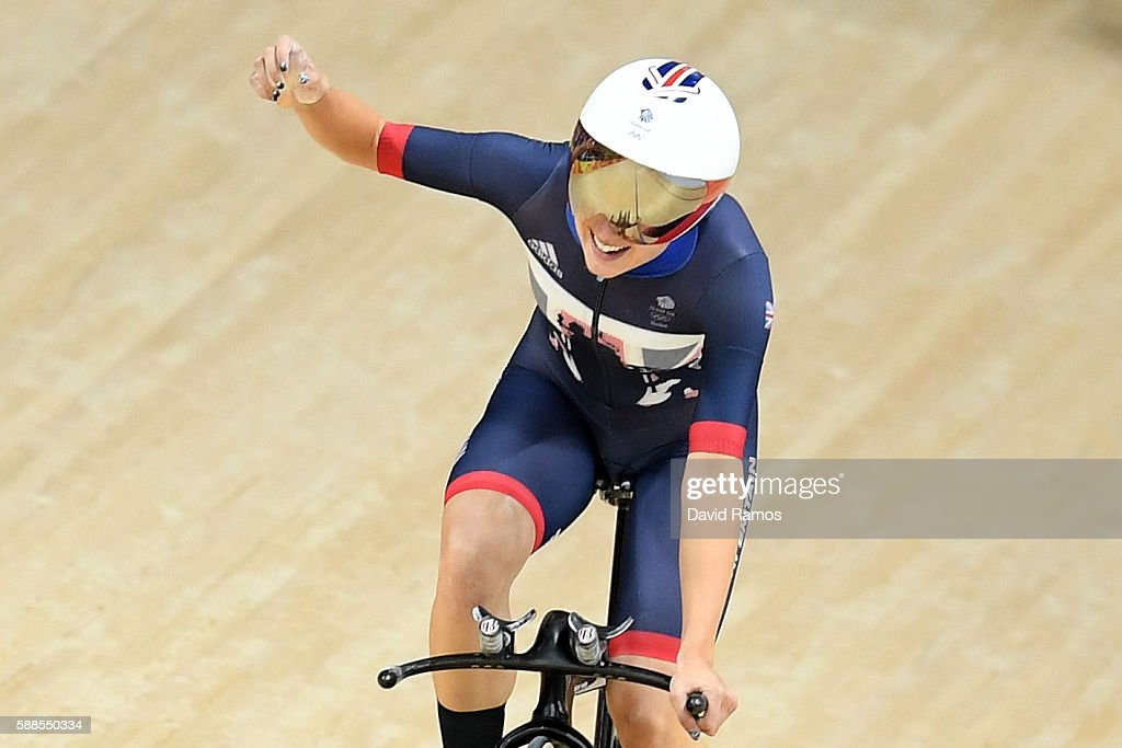Joanna RowsellShand of Great Britain celebrates a world record in the Women's Team Pursuit Track Cycling Qualifying on Day 6 of the 2016 Rio Olympics...