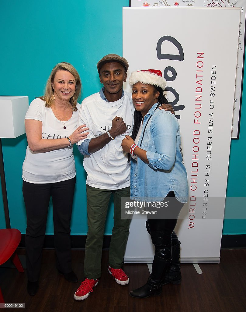 Joanna Rubinstein, President and CEO of Childhood USA, chef Marcus Samuelsson and Nicole Epps attend the ThankYou By Childhood USA Advocacy Campaign, #EyesWideOpen Initiative at the Miller Theater in West Harlem 2015 on December 6, 2015 in New York City.