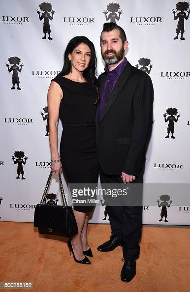 Joanna Savard and her husband hypnotist Marc Savard attend the 10th anniversary celebration of Carrot Top's residency at the Luxor Hotel and Casino...