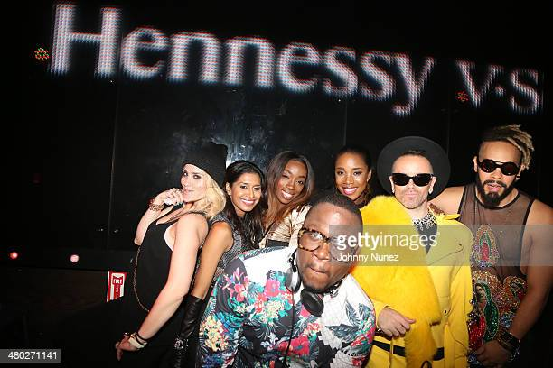 Joanna Simkin guest Estelle DJ MOS DJ Kiss Damon Peruzzi and Leo Velasquez attend the Legendary Damons annual LUXXBALL at Marquee on March 23 2014 in...
