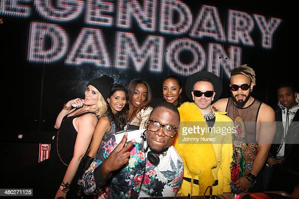 Joanna Simkin guest Estelle DJ MOS DJ Kiss Damon Peruzzi Leo Velasquez and Mack Wilds attend the Legendary Damons annual LUXXBALL at Marquee on March...