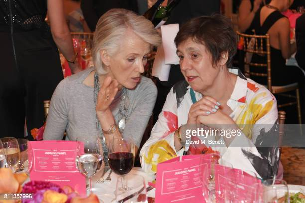 Joanna Trollope and Rebecca O'Brien attend The South Bank Sky Arts Awards drinks reception at The Savoy Hotel on July 9 2017 in London England