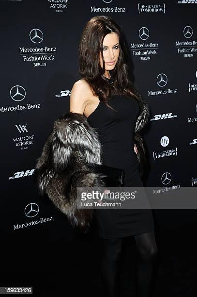 Joanna Tuczynsk attends Guido Maria Kretschmer Autumn/Winter 2013/14 fashion show during MercedesBenz Fashion Week Berlin at Brandenburg Gate on...