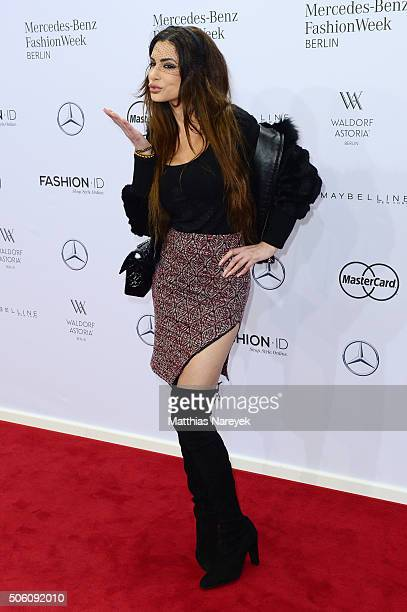 Joanna Tuczynska attends the Tulpen Design show during the MercedesBenz Fashion Week Berlin Autumn/Winter 2016 at Brandenburg Gate on January 21 2016...