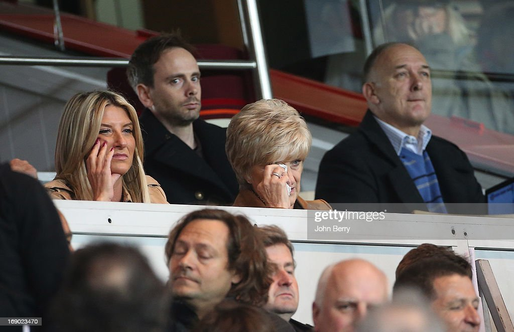 Joanne Beckham, David's sister, Sandra Beckham crying when her son David Beckham leaves the field, and Ted Beckam, David's father attend the Ligue 1 match between Paris Saint-Germain FC and Stade Brestois 29 at the Parc des Princes stadium on May 18, 2013 in Paris, France.