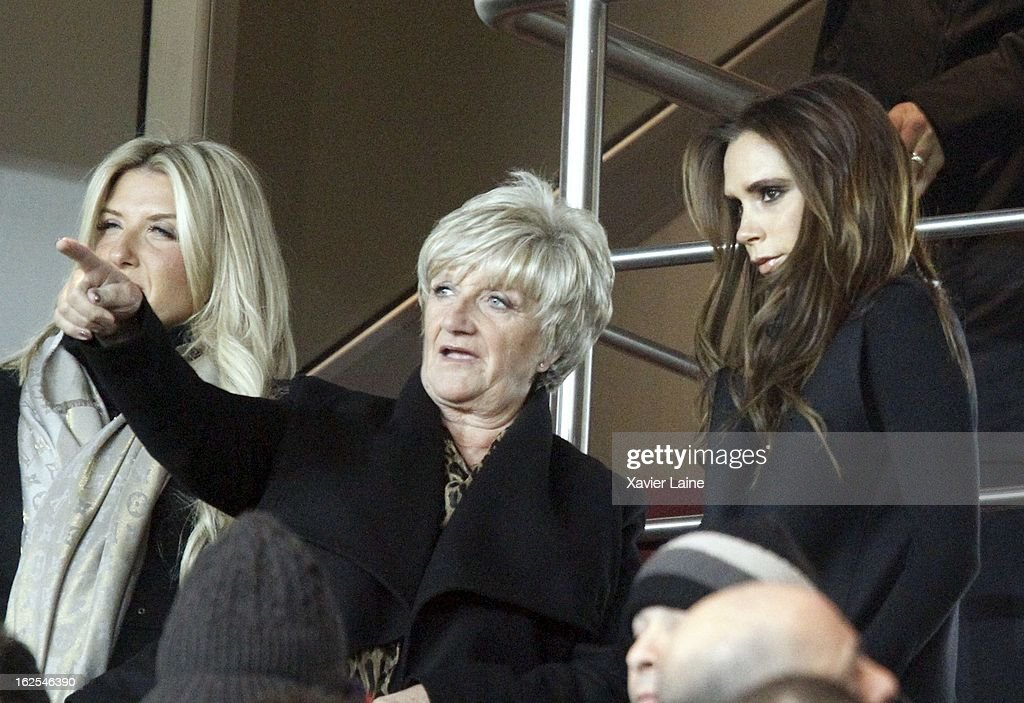 Joanne Beckham, Sandra Beckham and Victoria Beckham attend before the French League 1 between Paris Saint-Germain FC and Marseille Olympic OM, at Parc des Princes on February 24, 2013 in Paris, France.