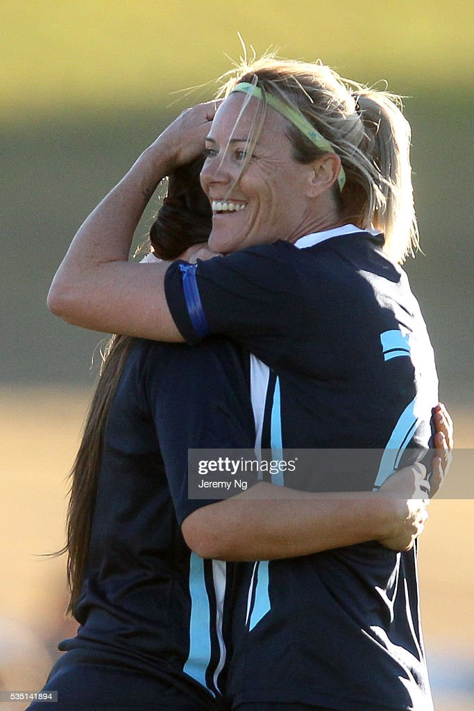 Joanne Burgess of the Stallions celebrates during the women's National Premier League match between Blacktown and Marconi at Blacktown Football Park on May 29, 2016 in Sydney, Australia.