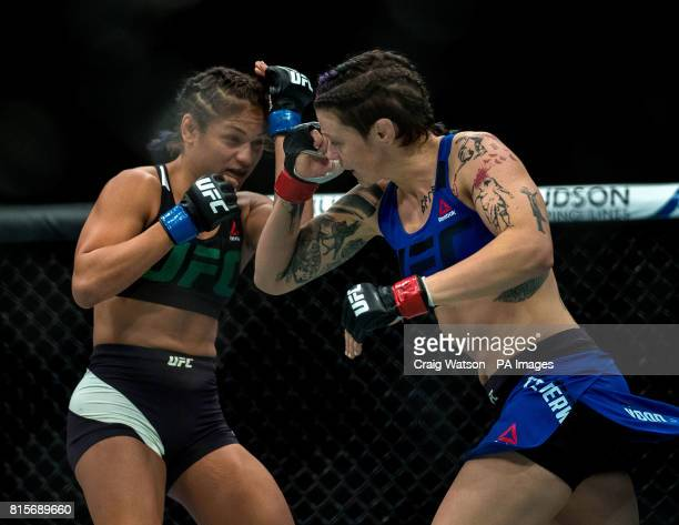 Joanne Calderwood is defeated by Cynthia Calvillo in their strawweight bout during the UFC Fight Night at the SSE Hyrdo Glasgow