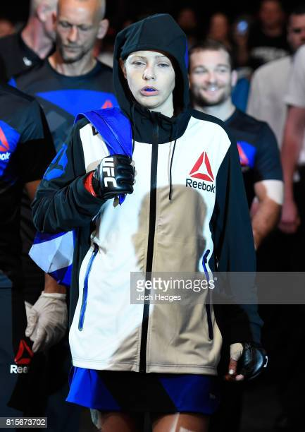 Joanne Calderwood of Scotland prepares to enter the Octagon before facing Cynthia Calvillo in their women's strawweight bout during the UFC Fight...