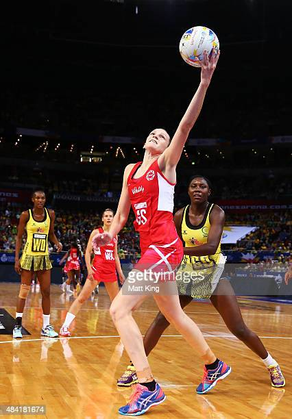 Joanne Harten of England catches the ball during the 2015 Netball World Cup Bronze Medal match between England and Jamaica at Allphones Arena on...