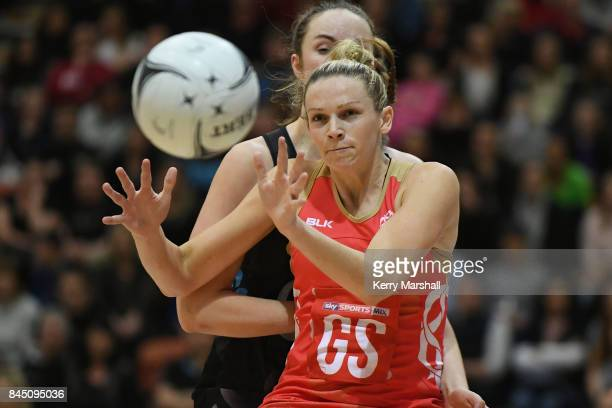 Joanne Harten of England in action during the International Test match between the New Zealand Silver Ferns and the England Roses at Pettigrew Green...